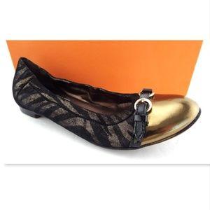 Unworn AGL Zebra Black Gold Leather Ballet Flat 38